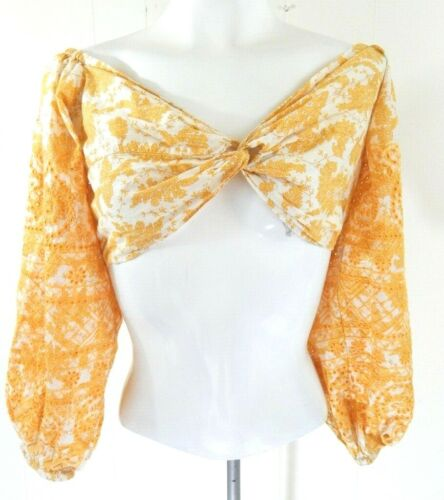 Topshop Women's 10 Crop Top Yellow Floral Embroide