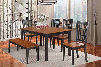 6PC SET DINETTE KITCHEN TABLE w/ 4 WOOD SEAT CHAIRS & 1 BENCH IN BLACK &  CHERRY | eBay