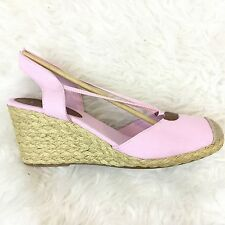 Chaps 11 Pink Wedges New Womens Espadrille Sandals Chambray Canvas Clarisa NIB