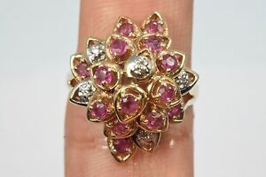 Women-039-s-10k-Solid-Yellow-Gold-Diamond-amp-Rubies-Dome-Style-Cluster-Ring-0-87-tcw