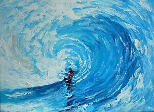 FineDecoArt-GEMALDE-LEINWANDBILD-GEMALT-MEER-SURFER-WELLE-ABSTRAKT-BLAU-MODERN