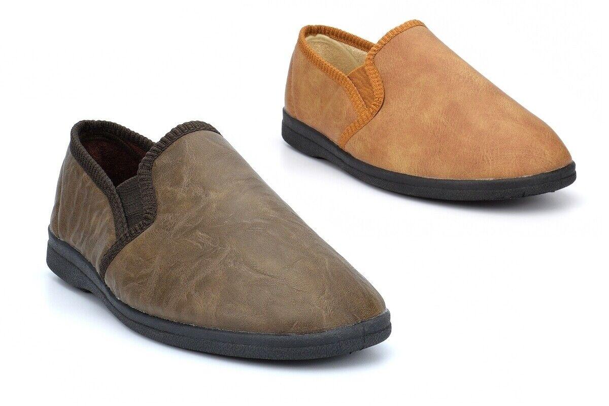 Mens Slippers Mens Slip On Slippers Mens Carpet Slippers PU Upper Textile Lining