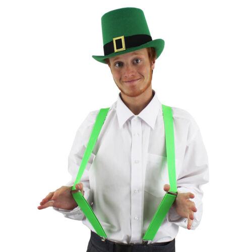 Fibbia Verde Top Hat Bretelle Set Irish St Patrick Irlanda Costume