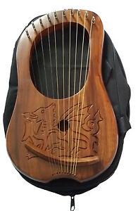 Simple Irlandais Lyre Harpe 10 Corde Gravé Dragon Gallois / Lyra Bois Sheesham