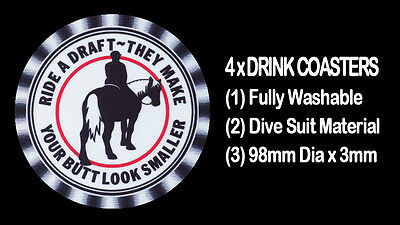 4  x HORSE MINIATURE DRINK COASTERS FULLY WASHABLE DIVE SUIT MATERIAL