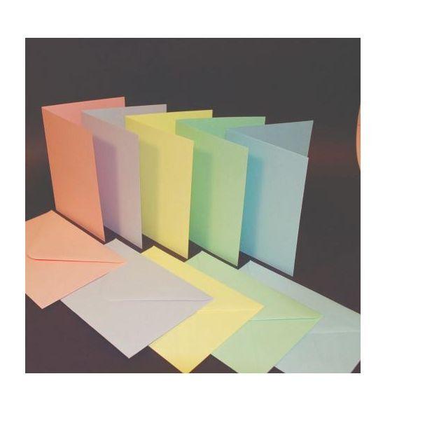 "50 MIXED PASTEL COLOURED 4"" x 6"" BLANK 200gsm CARDS & ENVELOPES ROYAL LANGNICKEL"