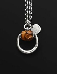 1-070-Gucci-Bamboo-Horsebit-Pendant-Ruthenium-Sterling-Silver-29-034-Necklace-NWT