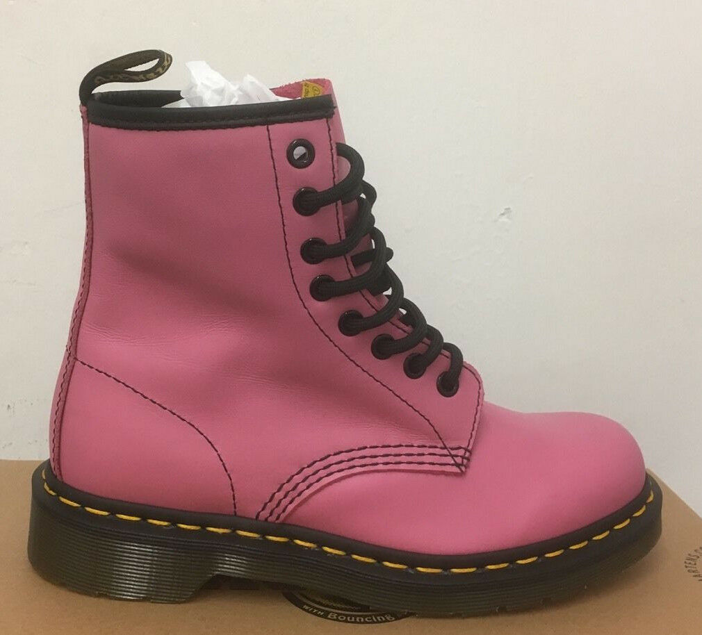 DR. MARTENS 1460  CANDY PINK SOFTY T  LEATHER  BOOTS SIZE UK 3