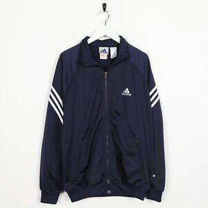 Vintage-90s-Adidas-Piccolo-Logo-Tuta-Giacca-Blu-Navy-TAGLIA-S
