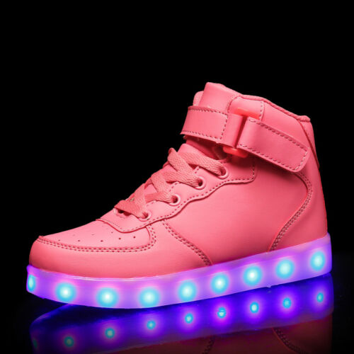 Kids Gift Children Boys Girls 7 LED Light Up Casual Shoes USB Luminous Sneakers