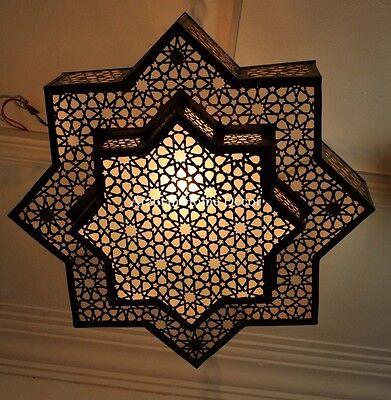 Moroccan Handcrafted Brass Ceiling Light Fixture Hanging Lamp Chandelier