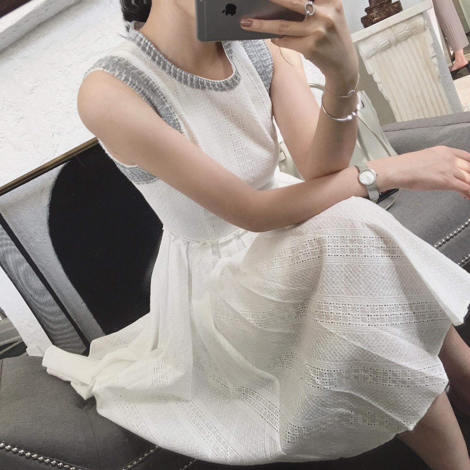 Women Lady Formal Office Casual Wedding Vest Lace White Long Dress