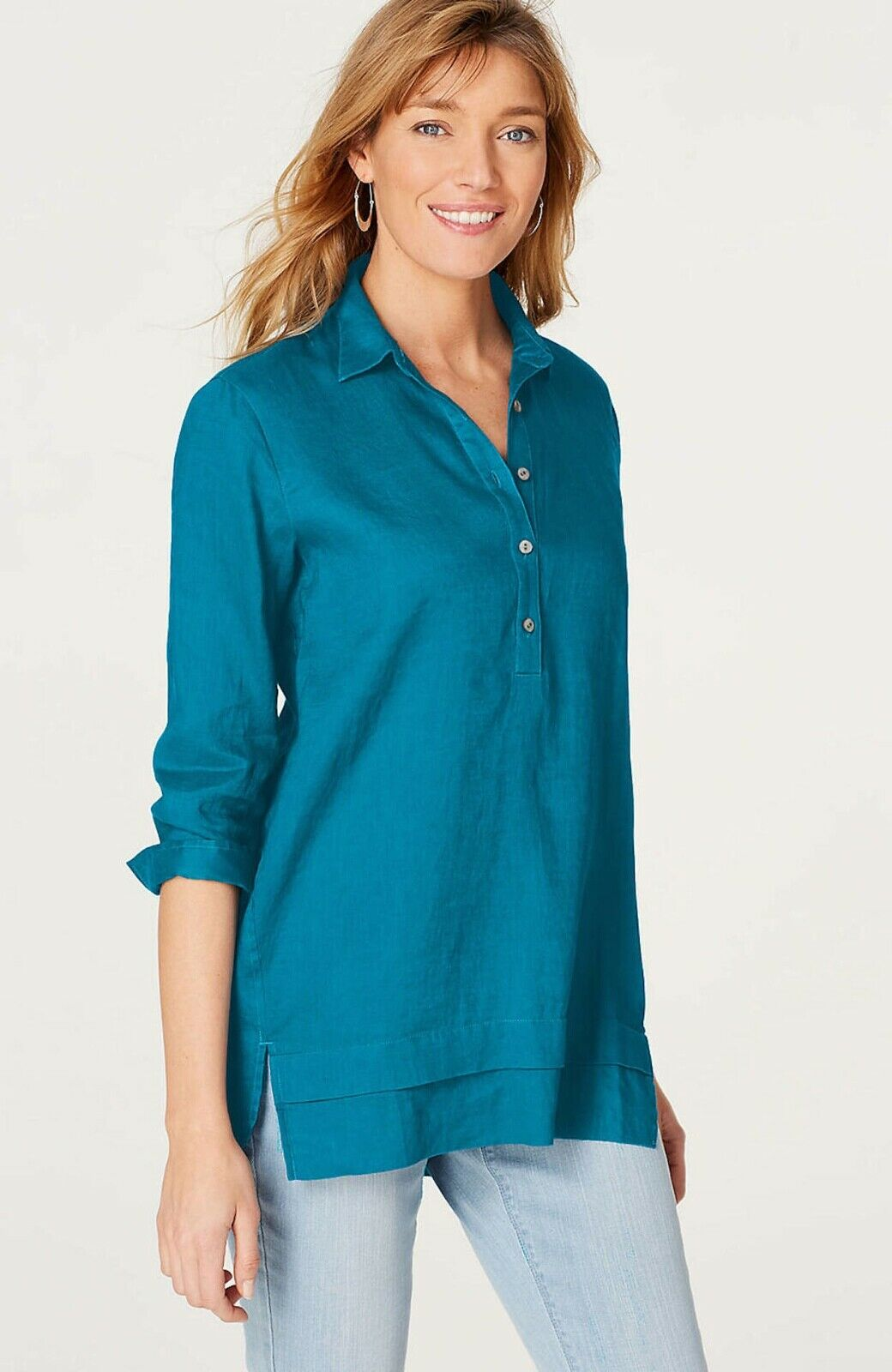 J. Jill - 3X(Plus) - Very Pretty Tahitian Teal Linen Relaxed Tunic - NWT