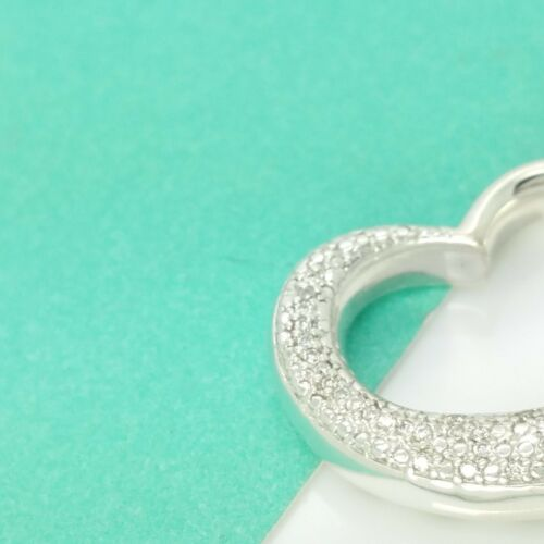 Brand New Signed HOB Sterling Silver .18ct Open Heart Curved Diamond Pendant QVC