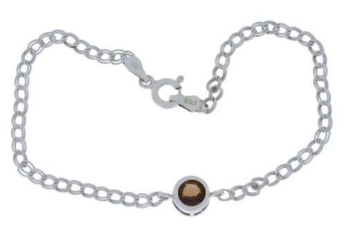 1 Carat Natural Smoky Quartz 6mm Bezel Round Bracelet .925 Sterling Silver