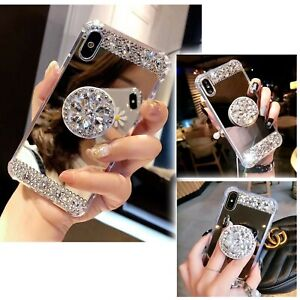 Rhinestone-Grip-Socket-Stand-Holder-Bling-Mirror-Case-For-iPhone-8-X-XS-XR-MAX