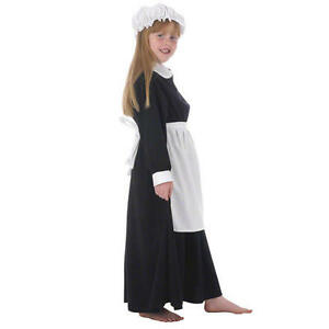 Childrens-Parlour-Maid-Fancy-Dress-Costume-Servant-Victorian-Era-140Cm-8-10-Year