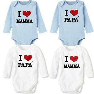 Body-neonata-bimbo-bimba-pagliaccetto-I-love-Mamma-Papa-cotone-TOOCOOL-XNO-314