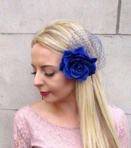 6555efe174 Large Royal Blue Rose Net Flower Hair Clip Rockabilly 1950s ...