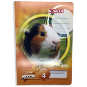 10 Stück Quarto Schulheft A5 Lineatur 4 16 Blatt 80g//qm //// Motiv Hamster