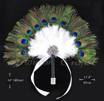 Peacock White Feathers Bridal Bouquet Bridesmaid  Fan wedding favors