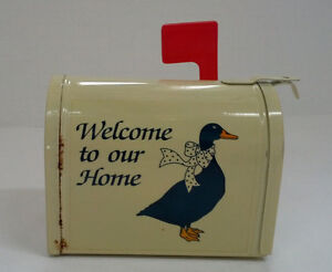 vintage country duck shabby chic decor small metal mail box letter note holder