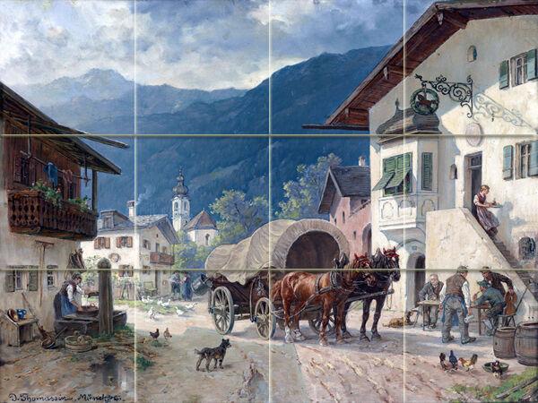 CHEVAUX reste devant la taverne en céramique murale dosseret Bain voiturerelage  2070