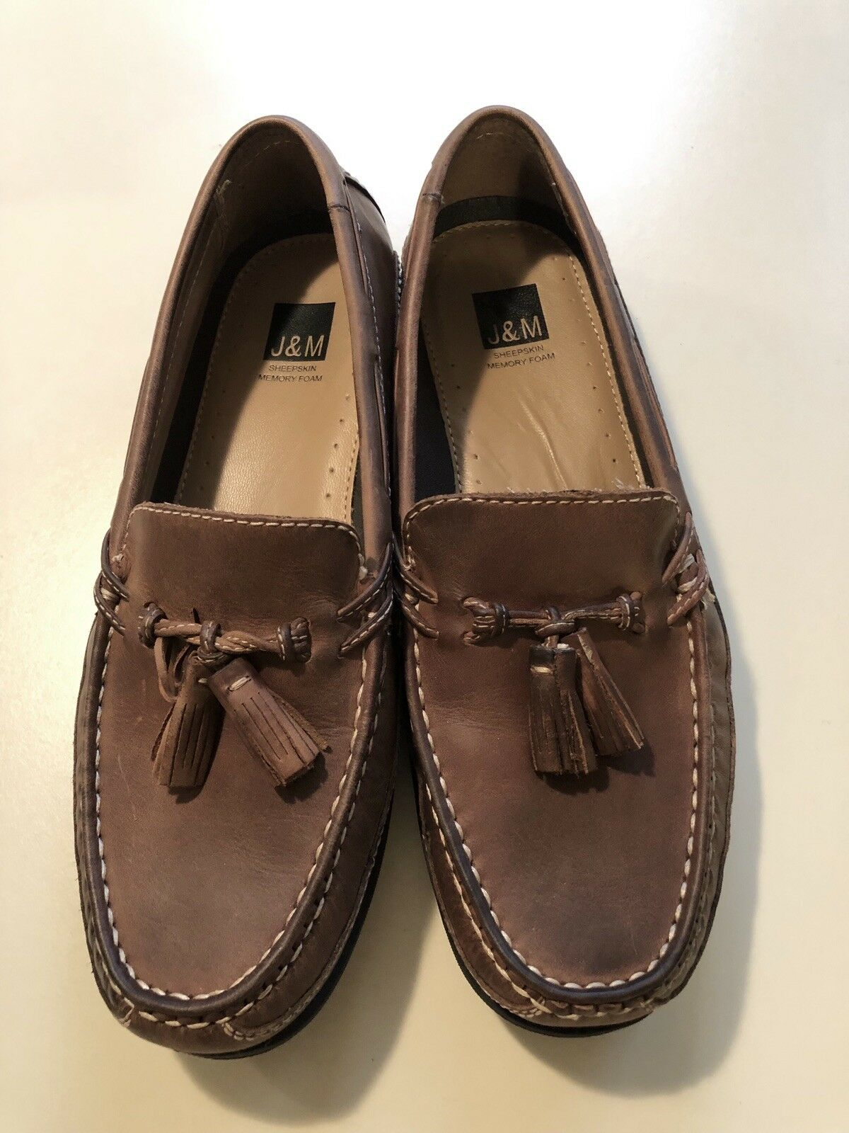 JOHNSTON & MURPHY Mens Brown Loafers w  Tassel Size 9M Mint Memory Foam Insole