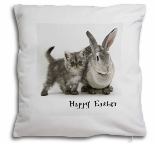 Grey Rabbit and Cat 'Happy Easter' Soft Velvet Feel Cushion Cover W, AC62EACPW