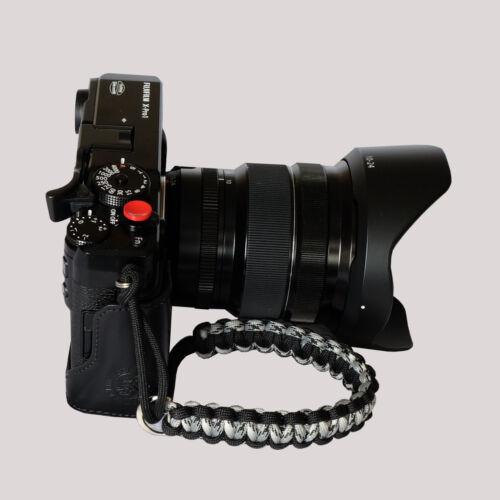 Black//Grey camo  Paracord Wrist Strap for DSLR Compact Cameras Fuji Nikon Sony
