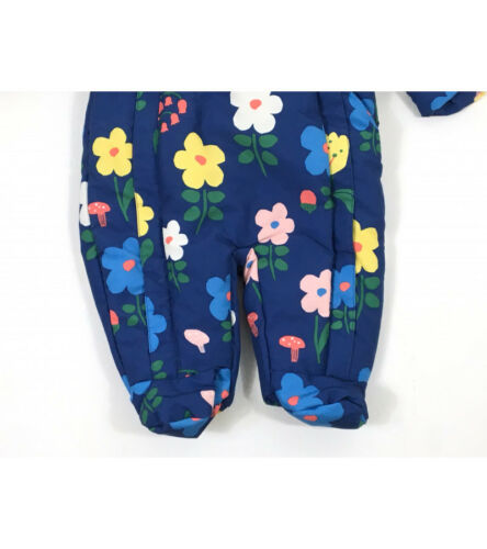 Ex M/&S Baby Girls Navy Floral Flower Snowsuit All in One Age 3 6 9 12 18 24 £22
