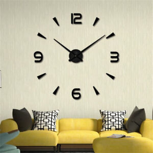 Moderne-Grand-Art-Surface-Miroir-bricolage-3D-Horloge-murale-Sticker-maison-bu