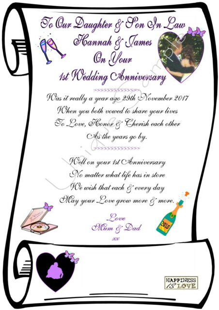 Daughter Son In Law 1st Wedding Anniversary Personalised Ivory Parchment Paper