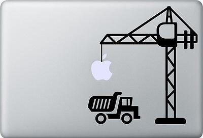 Apple MacBook Air Pro + BAUSTELLE + Aufkleber Sticker Skin Decal + Kran LKW