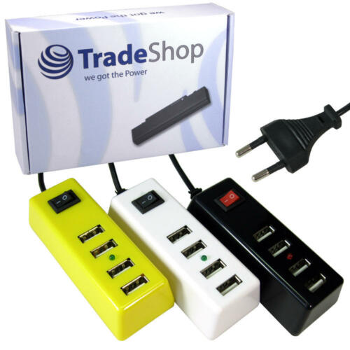 Ausschalter USB 4-fach Universal Adapter Ladekabel Netzstecker mit Einschalter