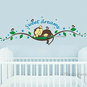 Cheeky-Monkey-Tree-Sleep-Wall-Sticker-Art-Decal-Nursery-Baby-Kids-Bedroom-Decor