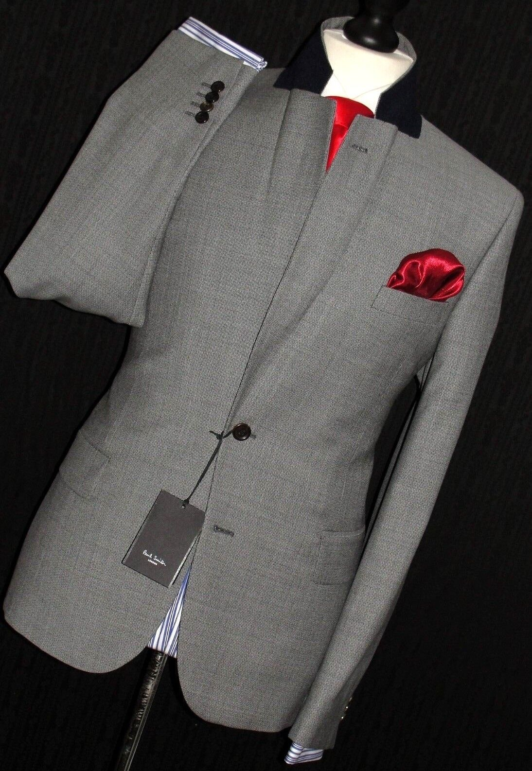 BNWT  Herren PAUL SMITH LONDON TAILOR-MADE 2018 EDITION TEXTUROT grau SUIT 44R W38
