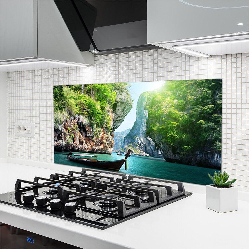 Crédence de cuisine en 120x60 verre Panneau 120x60 en Nature Montagne Lac Bateau b81e22