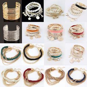 Mode-Nouveau-Punk-Cuff-Bracelet-Or-Plaque-Perle-Multi-couche-Unisexe-Bracelet