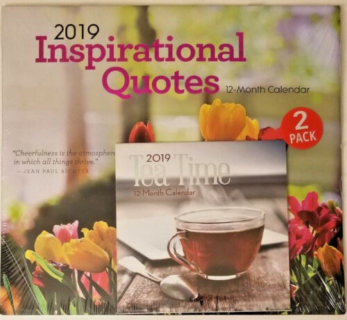 2 pack Of 12 Month 2019 Wall Calendars Inspirational Quotes /& Tea Time w