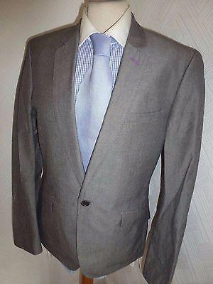 Da Uomo Ted Baker London Grigio Cotone Estate Giacca Pantaloni 38 Vita 32 Gamba 32- Ricco E Magnifico
