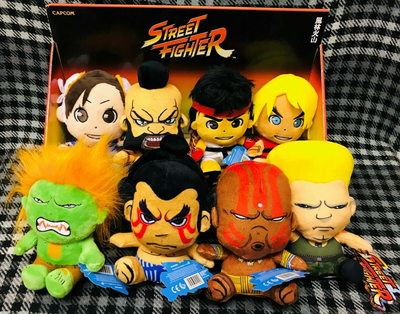 STREET FIGHTER soft toys - 6  tall - SET OF ALL 8 CHARACTERS in display box