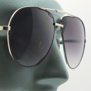 b10f6ae92 Big Gray Lens Gold Frame Straight Classic Aviator Sunglasses Sun ...