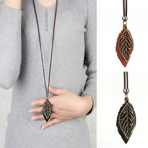 Women-Special-Leaves-Leaf-Pendant-Necklace-PU-Leather-Long-Sweater-Chain-Jewelry