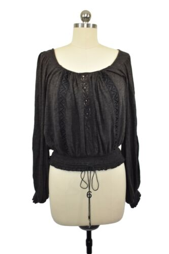Free People Top Size XS Brown Bohemian Gypsy Tie T