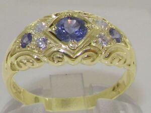 Vintage Tourmaline /& Genuine Diamonds 9ct Solid Gold Band Ring UK K  US 5,5