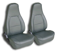 MAZDA MIATA 1990-2000 CHARCOAL IGGEE S.LEATHER CUSTOM FIT FRONT SEAT COVERS