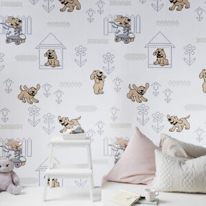 Details About Vinyl Wallpaper Doggies Wall Coverings Gray Dogs Nursery Kids Room Textured 3d