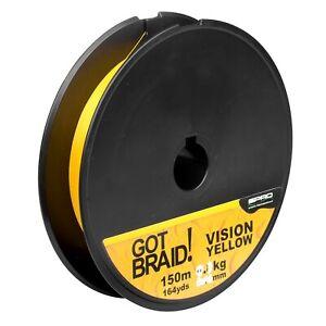 0,22mm geflochtene Schnur von Spro GOT Braid 4-Fach 150m Vision Yellow
