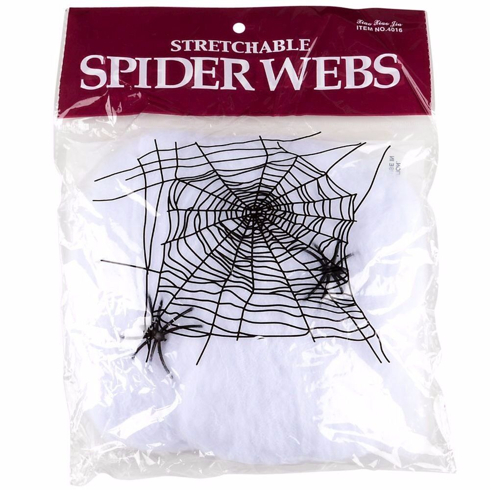 Pack of 2 Stretchable Spider Cob Web Halloween Decoration One Size White